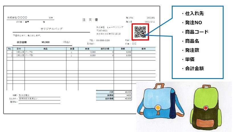 納品書QRコード明記